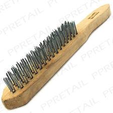 """★ Large Heavy Duty ★ 4 Row Wire Brush 11 """"fai da te Meccanica VERNICE RUGGINE SCALA REMOVER"""
