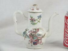 FINE 19TH C CHINESE PORCELAIN FAMILLE ROSE WARRIORS HORSES WINE POT & COVER