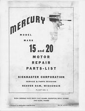 MERC MARK 15 & 20 Outboard Motor Service & Owners Manual