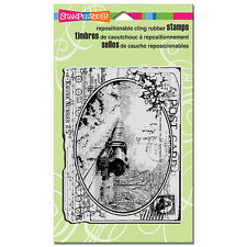 STAMPENDOUS RUBBER STAMPS CLING TRAIN POSTCARD STAMP