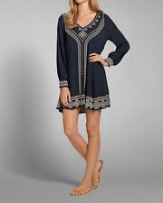 102695 New Abercrombie & Fitch Embroidered Sleeved Blue Shift Tunic Dress XS US