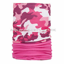 Women Thermal Polar Fleece Neck Warmer Tube Scarf Snow Ski Mask Pink Camouflage