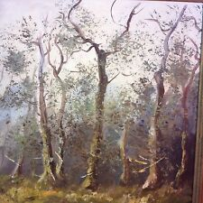 Vintage Oil On Canvas Painting By Koller 1963 Trees Swamp Landscape