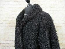 WOMENS MONGOLIAN LONG HAIR LAMBSWOOL COAT SIZE 20 UK BLACK EXCELLENT   H950