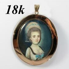 Antique 1700s French Portrait Miniature, 18k Gold Pendant Frame, Woman