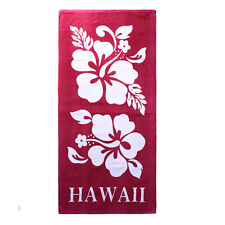 Hawaii Beach Towel 100% Cotton Large 60x30 Red Double White Giant Hibiscus Flora
