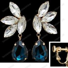 CLIP ON screw CRYSTAL teardrop DROP EARRINGS gold plated GLASS rhinestone CLIPS
