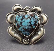 KIRK SMITH Vintage NAVAJO Sterling Silver & TURQUOISE RING, size 8 Heart-Shaped
