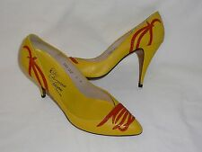 Salvatore Ferragamo Leather Floral Pumps Shoes Heels  8 N Carly Lolly