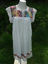 1970's white colorful hand embroidery Mexican style dress crochet trim s/m