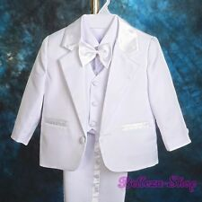 5pcs Set White Formal Suits Wedding Christening Outfits Baby Boys Sz 0-3M ST022A