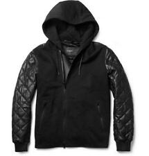 Givenchy Men's Quilted Black Leather Hooded Bomber Jacket Size 50 M