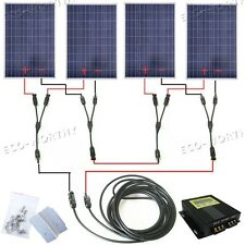 400 Watt Solar Panel Complete Kit:4×100W Solar Panel with LCD MPPT 24V RV Boat