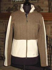 WOMENS CLOUDVEIL BROWN and CREAM CABLE SWEATER JACKET M