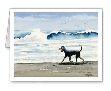 Black and Tan Coonhound at the Beach Set of 10 Note Cards With Envelopes