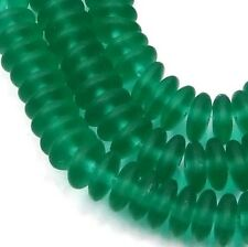 50 Czech Frosted Sea Glass Rondelle Beads Matte - Emerald  6x2mm