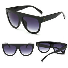 a968fec96fe9 Stylish Black Flat Top Shadow Oversized Women Ladies Men Designers  Sunglasses