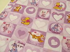 4 Yards Disney Pooh & Friends Valentine Fabric Tigger Eeyore Piglet Hearts OOP