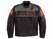 Harley Davidson Men's Rumble Colorblocked B&S Black Leather Jacket L 98056-13VM