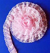 PINK 2 Inch DOUBLE Ruffle Candlewick Lace Trim~By 5 Yards