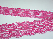 Wholesale!dark pink 10yd Bilateral Handicrafts Embroidered Net Lace Trim Ribbon