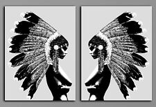 "Custom Listing- 2 X Art prints  Indian Girl War Bonnet Abstract -each  24X36"" BW"