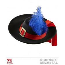 Childrens Black Musketeer Hat Cap With Red Ribbon & Blue Feather Fancy Dress