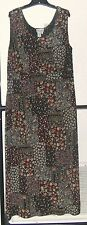 COLDWATER CREEK Textured SLINKY Travel KNIT Floral MAXI Long DRESS Sz. 2X