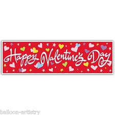 5ft Happy Valentine's Day Giant Hearts Red Sign Banner Decoration