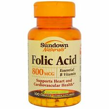 SUNDOWN NATURALS Folic Acid Vitamin Supplement Tablets, 800mcg, 100 ct Exp 2020