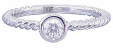 14K White Gold Round Cut Diamond Engagement Ring Braided Bezel Set Deco 0.25ctw