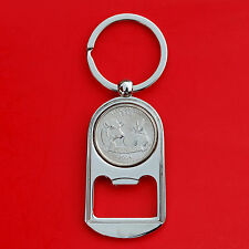 US 2004 Wisconsin State Quarter BU Unc Coin Key Chain Ring Bottle Opener NEW