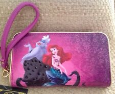 NWT DISNEY STORE LITTLE MERMAID & URSULA WRISTLET WALLET ARIEL CELL PHONE FAIRY