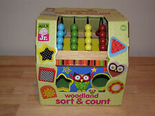 NEW Alex Jr Woodland Toys Wooden Activity Cube Shape Sorter Count Toddler Toys