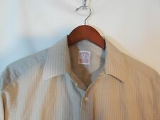 Brooks Brothers Striped 100% Cotton Men's Button Up Shirt Size 16-5 Tan Beige