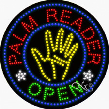 "NEW ""PALM READER OPEN"" LOGO 26x26 SOLID/ANIMATED LED SIGN w/CUSTOM OPTIONS 21331"