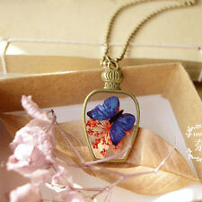 Handmade Real Dried Flowers in Resin Pendant Necklace With Butterfly Design Hot