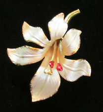 Vintage Costume Jewelry Cerrito White Lily Flower Gold Tone Brooch Pin