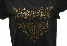 Harley-Davidson Black Shirt Gold Purple Crystal Bling Design Womens Medium