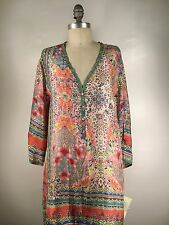 JOHNNY WAS HENLEY SILK BLOUSE SIZE M NWT