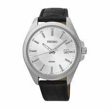 New Seiko SUR065 White Dial Black Leather Strap Stainless Steel Date Men's Watch