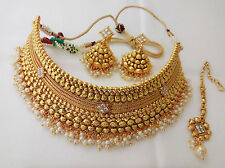 Indian Bollywood Style Gold Plated Wedding Bridal Fashion Jewelry Necklace Set