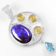 8.55 Grams 925 Sterling Silver Citrine Blue Topaz charoite Round Pendant Jewelry