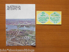 1974 SPOKANE USA WORLD'S FAIR TICKET AUSTRALIA EXHIBIT PAVILION EXPO ESPOSIZIONE