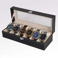 6 Automatic Rotation Leather Wood Watch Winder Storage Display Case Box