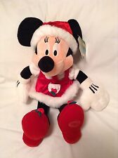 "Disney Store Santa Minnie Mouse Christmas Plush 16"" New"