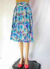 Ladies Vtg Retro 70s Glossy Abstract Multi Shiny Circle Knee Skirt sz S AQ12