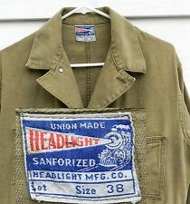 HEADLIGHT Overalls 1930's UNION MADE SANFORIZED 38x30 Vintage Work Clothes USA