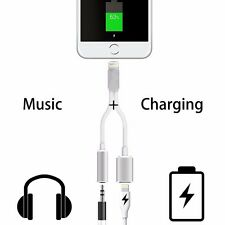 New 3.5mm Earphone Audio Jack 2 in 1 Adapter Charge Cable For IPhone 7 6 6S Plus