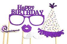 Photo Booth Props -  Happy Birthday Hot Purple Party Props x 5PC